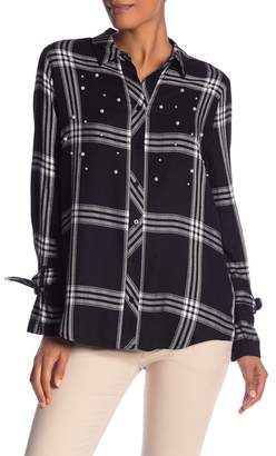 Laundry by Shelli Segal Embroidered Plaid Button Front Shirt