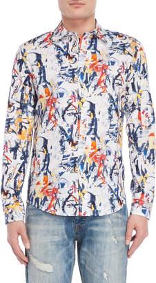 Desigual White Splatter Slim Fit Sport Shirt