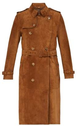 Burberry The Kensington Suede Trench Coat - Mens - Brown