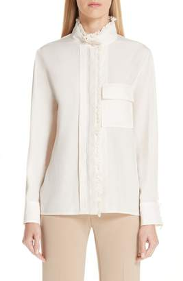 Chloé Ruffle Trim Silk Shirt
