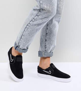 Nike Sb Janoski Slip On Sneakers In Black