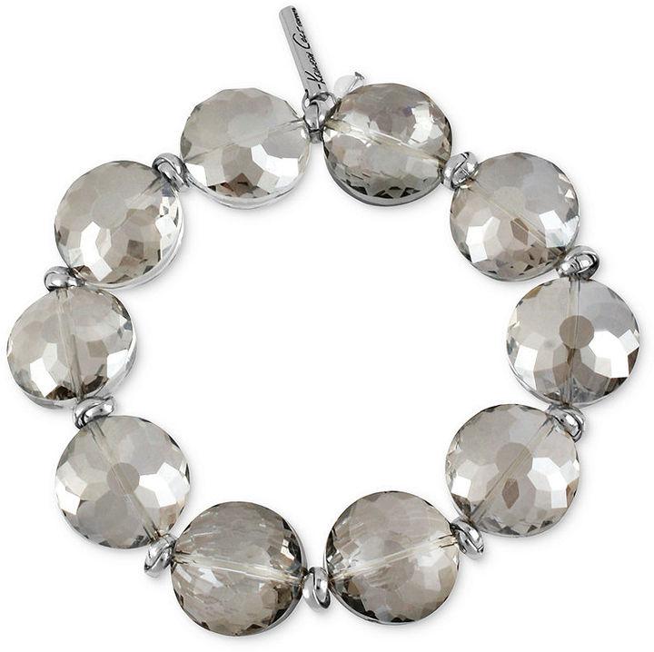 Kenneth Cole New York Bracelet, Silver-Tone Faceted Bead Stretch Bracelet