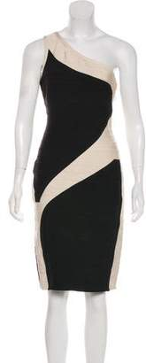 Herve Leger One-Shoulder Colorblock Dress