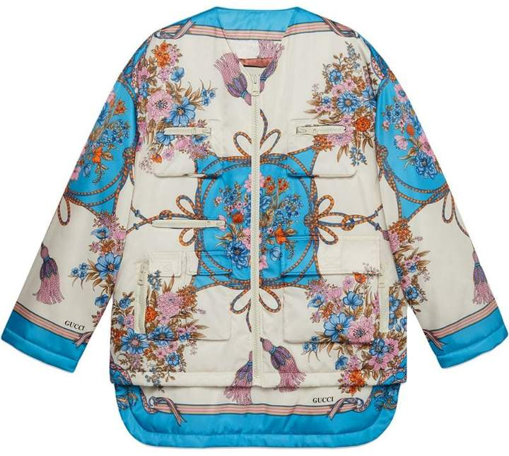 Padded nylon jacket with flowers and tassels