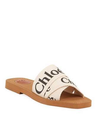 Chloé Woody Flat Logo Ribbon Slide Sandals