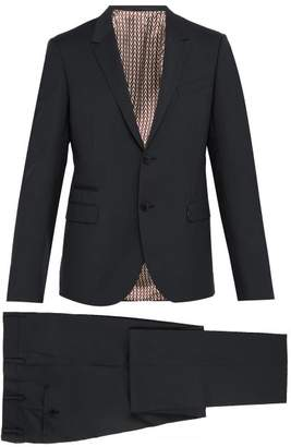 Valentino Slim Fit Single Breasted Wool Blend Suit - Mens - Grey