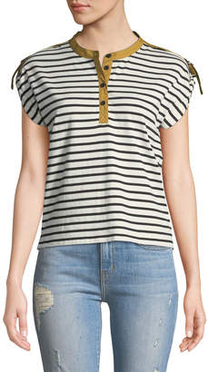 Derek Lam 10 Crosby Breton-Striped Short-Sleeve Tab-Shoulder Tee