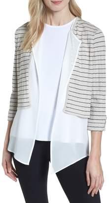 Ming Wang Layered Look Knit Jacket
