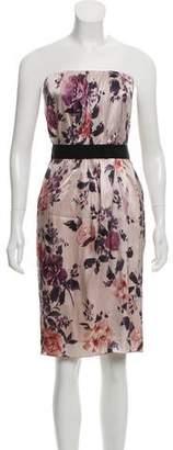 Dolce & Gabbana Strapless Floral Printed Mini Dress