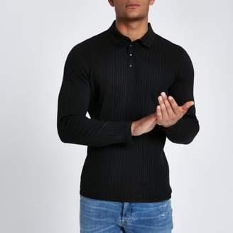 River Island Black muscle fit chunky rib polo shirt