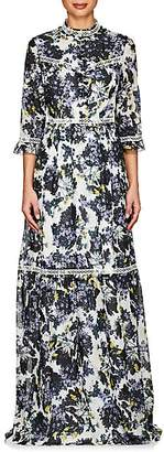 Women's Shebah Floral Cotton-Silk Gown - White