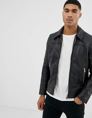 Bolongaro Trevor slim fit leather jacket