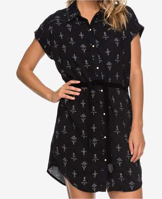 Roxy Juniors' Printed Tie-Waist Shirtdress