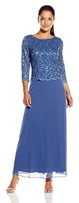 Alex Evenings Women's Petite Long Lace and Chiffon Dress