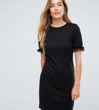 Asos Tall TALL T-Shirt Dress In Ponte With Lace Frill Sleeve