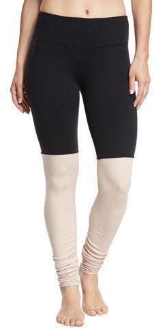 Alo Yoga Goddess Ribbed Sport Leggings, Black/Buff