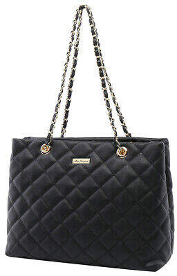 NEW Serenade Leather Evelyn Quilted Vegan Leather Tote Black