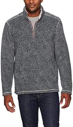 True Grit Men's Soft Melange Solid Plaid Blanket 1/4 Zip Pullover