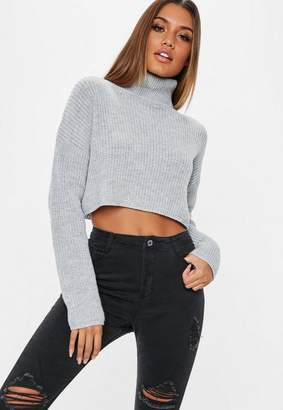 Missguided Gray Turtle Neck Knit Cropped Sweater