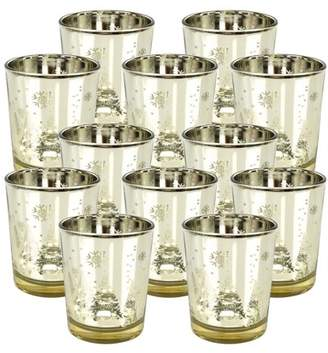"Just Artifacts Christmas Metallic Votive Candle Holder 2.75"" H - Gold Winter Wonderland (Set of 12) - Glass Votive Candle Holders for Weddings and Home Decor"
