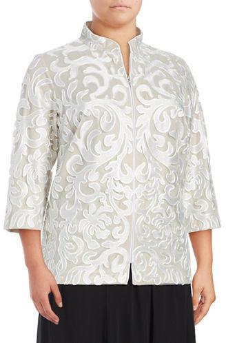 Alex EveningsAlex Evenings Plus Textured Lace & Mesh Jacket