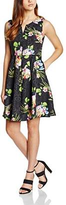 Almost Famous Women's V-Neck Garden Party A-Line Floral Sleeveless Dress