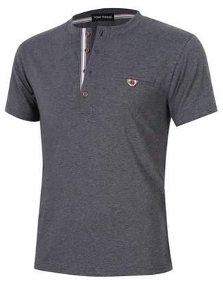 Lintimes Men Casual Short Sleeve Pocket Slim Fit Cotton Henley Shirt Grey 2XL