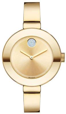 Movado 34mm BOLD Crystal Bangle Watch, Golden