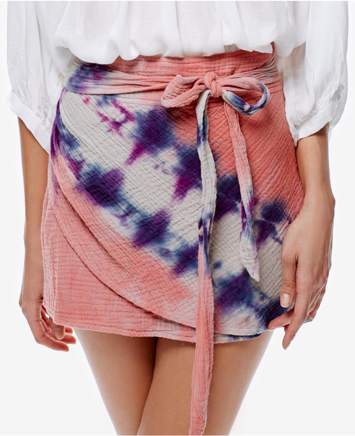 Free People Cotton Tie-Dyed Mini Skirt