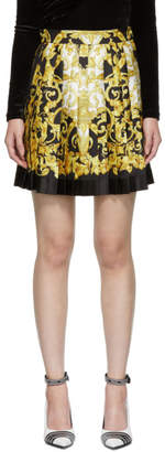 Versace Black and Gold Pleated Barocco SS92 Miniskirt