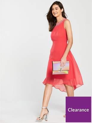 Wallis Hotfix Neck Asymmetric Dress - Coral