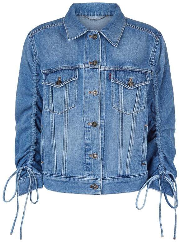 Ruched Sleeve Denim Jacket