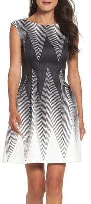 Petite Women's Vince Camuto Scuba Fit & Flare Dress $168 thestylecure.com