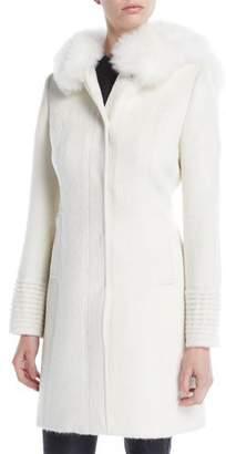 Sentaler Suri Alpaca Coat w/ Fur-Trim Hood