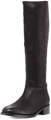 Sesto Meucci Alaina Snake-Print Knee Boot, Black $315 thestylecure.com