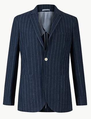 Marks and Spencer Pure Linen Indigo Striped Tailored Fit Jacket