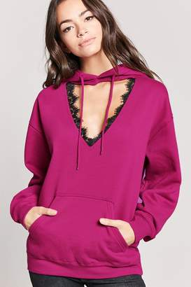 Forever 21 Cutout Lace-Trim Fleece Hoodie