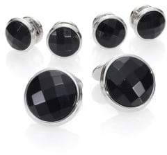 David Donahue Faceted Black Onyx& Sterling Silver Stud Set