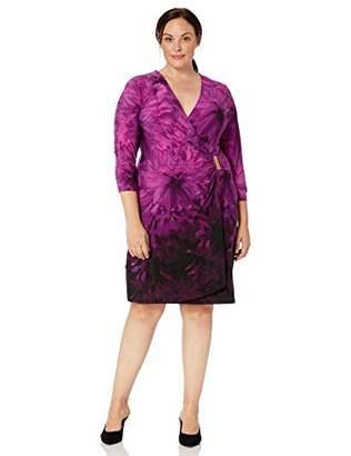 Calvin Klein Women's Plus Size Three-Quarter-Sleeve Mock-Wrap Dress