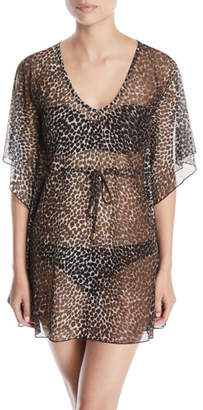 Letarte Leopard-Print Mesh Coverup Tunic