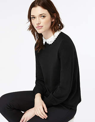Monsoon Betsy Bell Sleeve Lace Collar Jumper