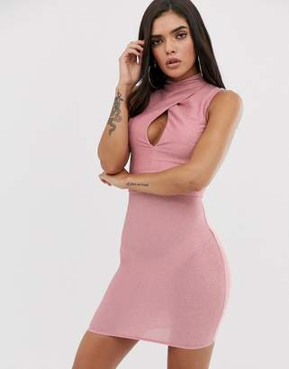 The Girlcode high neck keyhole mini bodycon dress in pink metallic