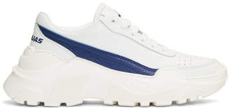 Joshua Sanders White and Blue Chunky Sole Sneakers