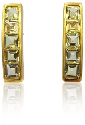 Eliza J Bautista Nadine Green-Gold Quartz Earrings In 18K Gold Vermeil On Sterling Silver