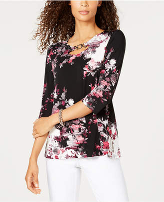 JM Collection Petite Printed Embellished Tunic