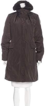 Post Card Fur-Trimmed Knee-Length Coat