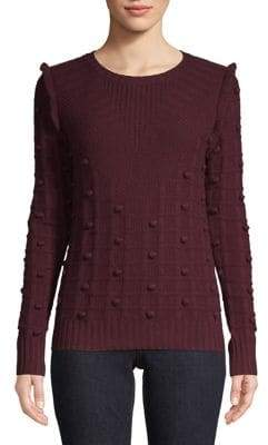 Autumn Cashmere Ruffle-Trimmed Long-Sleeve Sweater