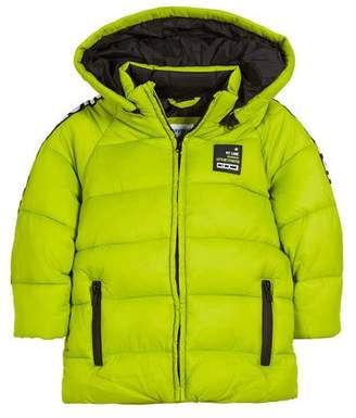 Mayoral Quilted Adventure-Tape Puffer Coat w/ Removable Hood, Size 3-7
