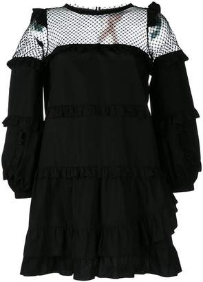 No.21 sheer ruffled shift dress