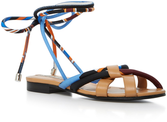 Emilio Pucci Leather-Trimmed Silk-Twill Sandals $730 thestylecure.com